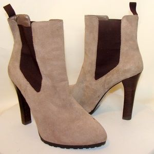 RALPH LAUREN WOMENS TAN TAUPE SUEDE ANKLE BOOTS 9B